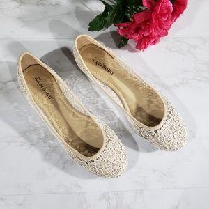Zigisoho white lace ballet flats Size 8